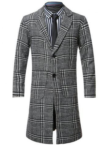 Buy Lapel Single-Breasted Houndstooth Splicing Wool Coat BLACK 4XL
