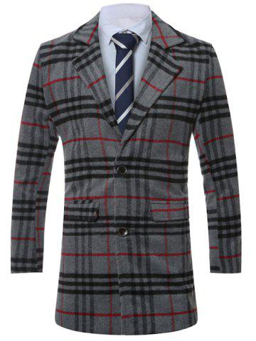 Outfits Lapel Single-Breasted Tartan Wool Coat