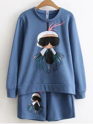 Outfit Cartoon Print Sweatshirt and Shorts