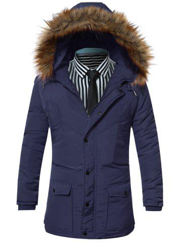Furry Hood Pocket Zip Up Padded Coat - Blue - M