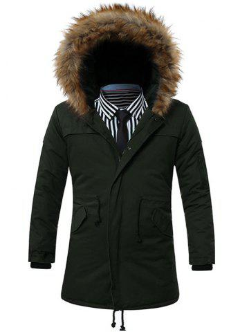 Discount Furry Hood Drawstring Pockets Zip-Up Parka Coat