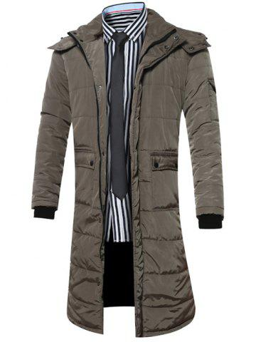 Chic Hooded Lengthen Pockets Zip-Up Down Coat ARMY GREEN 3XL