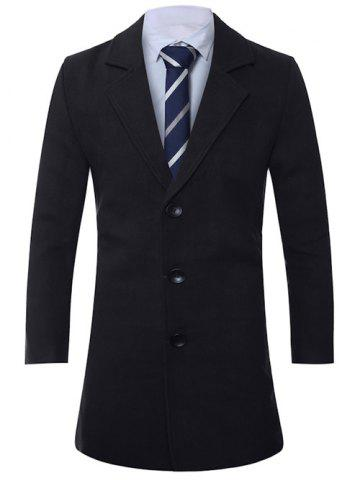 Lapel Single-Breasted Lengthen Wool Coat - BLACK - L