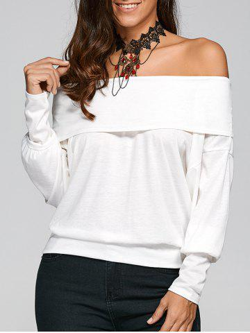 Online Off The Shoulder Long Sleeve T-Shirt WHITE M