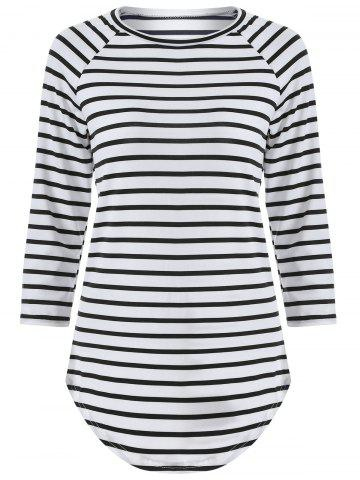 Chic 3/4 Sleeve Striped T Shirt