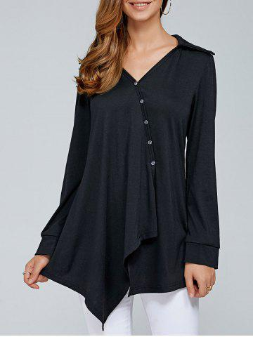 Discount Inclined Button Asymmetrical Blouse - M BLACK Mobile