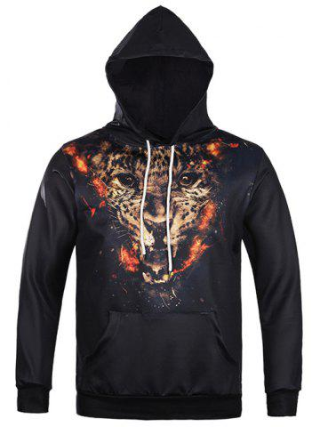 Buy Tiger 3D Print Kangaroo Pocket Drawstring Hoodie BLACK XL