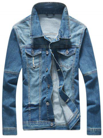 Shop Frayed Button Up Hand Printed Denim Jacket