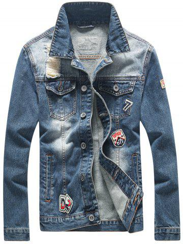 Trendy Patch Design Button Up Ripped Denim Jacket