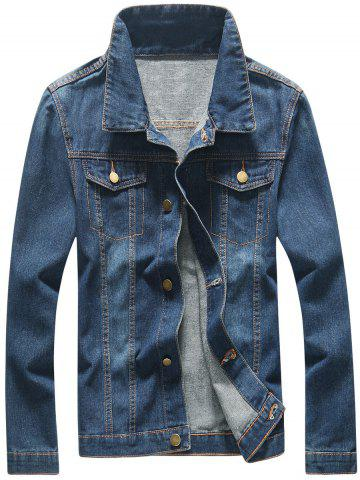Fancy Faux Pocket Front Button Up Denim Jacket