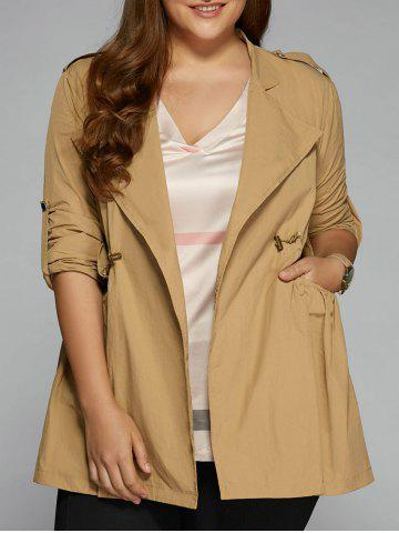 Chic Plus Size String Trench Coat