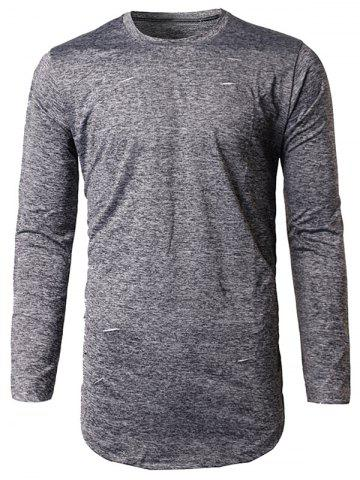 Best Long Sleeve Heather Distressed T-Shirt - M DEEP GRAY Mobile