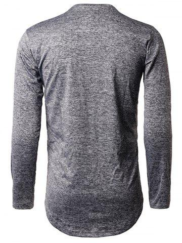 Latest Long Sleeve Heather Distressed T-Shirt - M DEEP GRAY Mobile