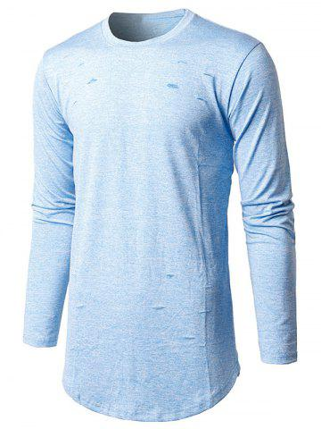Trendy Long Sleeve Heather Distressed T-Shirt - M LIGHT BLUE Mobile