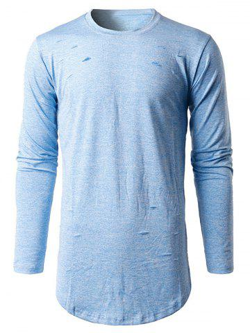 Shop Long Sleeve Heather Distressed T-Shirt - M LIGHT BLUE Mobile