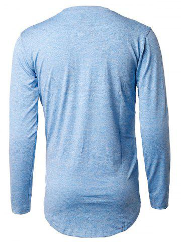 Hot Long Sleeve Heather Distressed T-Shirt - M LIGHT BLUE Mobile