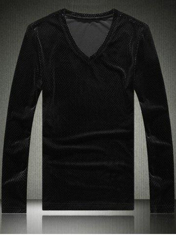 Buy Slim Fit V-Neck Long Sleeve Velvet T-Shirt