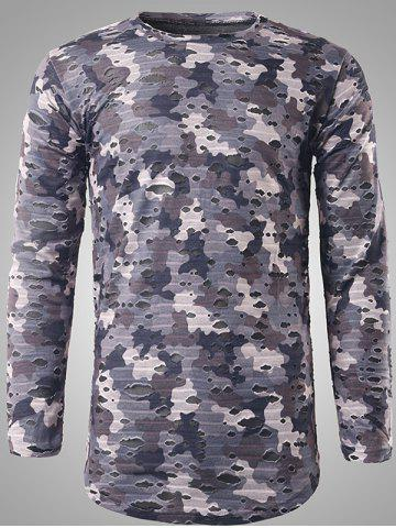 New Long Sleeve Destroyed Camouflage T-shirt GRAY 2XL