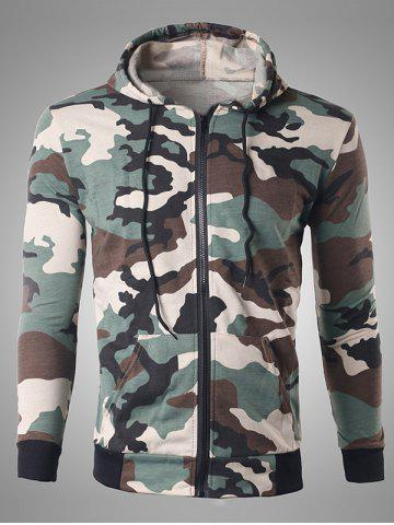 Outfit Zip Up Pocket Design Camouflage Hoodie OFF-WHITE XL