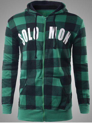 Unique Zip-Up Letter Print Plaid Green Hoodie