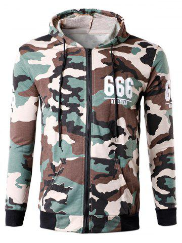 New Zip-Up 666 Print Camouflage Hoodie OFF-WHITE L