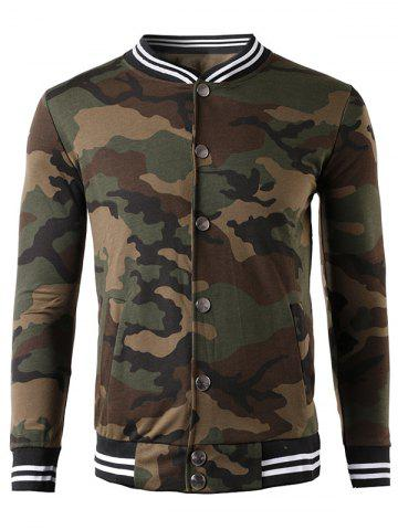 Shops Button Up Striped Collar Camouflage Jacket COFFEE XL