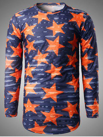 Discount Long Sleeve Star Print Destroyed T-Shirt BLUE 2XL