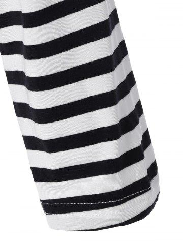 Online Long Sleeve Striped T-Shirt With Elbow Patch - XL WHITE AND BLACK Mobile