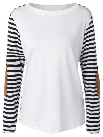 Unique Long Sleeve Striped T-Shirt With Elbow Patch WHITE AND BLACK XL