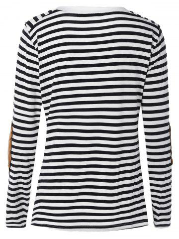 Fashion Long Sleeve Striped T-Shirt With Elbow Patch - XL WHITE AND BLACK Mobile