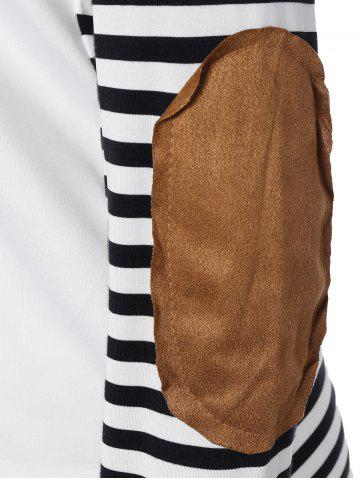 Outfit Long Sleeve Striped T-Shirt With Elbow Patch - XL WHITE AND BLACK Mobile