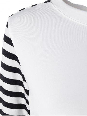 Cheap Long Sleeve Striped T-Shirt With Elbow Patch - XL WHITE AND BLACK Mobile