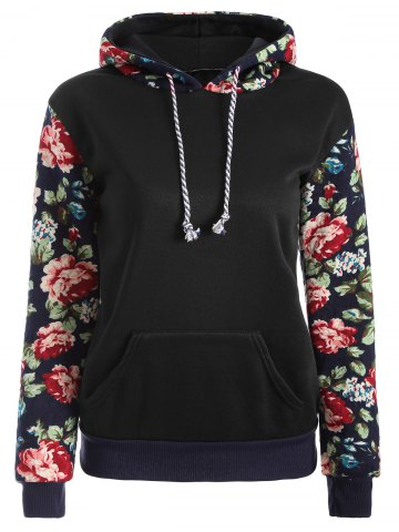 Sale Floral Print Front Pocket Preppy Hoodie - L BLACK Mobile