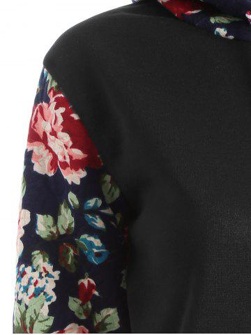 Outfits Floral Print Front Pocket Preppy Hoodie - M BLACK Mobile