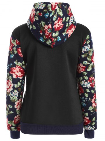 Outfits Floral Print Front Pocket Preppy Hoodie - S BLACK Mobile