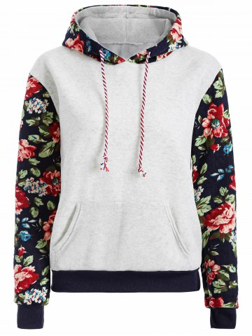 Hot Floral Print Front Pocket Preppy Hoodie GREY WHITE L