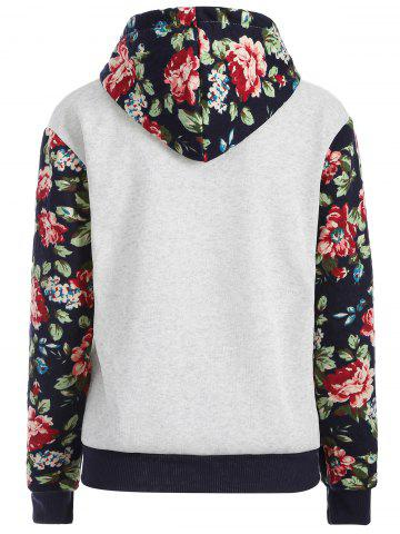 Cheap Floral Print Front Pocket Preppy Hoodie - M GREY WHITE Mobile