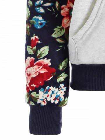 Chic Floral Print Front Pocket Preppy Hoodie - M GREY WHITE Mobile