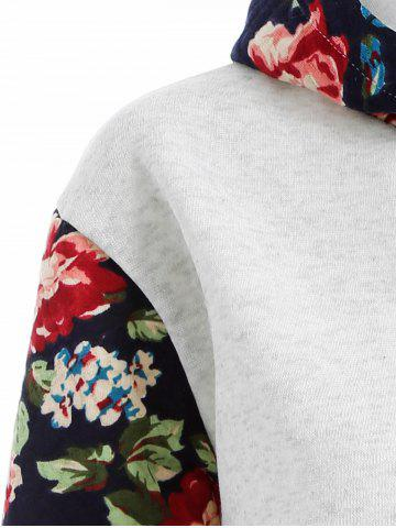 Sale Floral Print Front Pocket Preppy Hoodie - M GREY WHITE Mobile