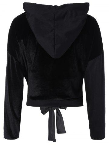 Chic Color Block Long Sleeve Thin Wrap Hoodie - L BLACK Mobile