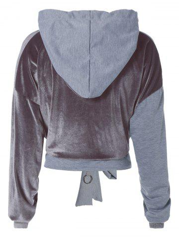 Cheap Color Block Long Sleeve Thin Wrap Hoodie - S GRAY Mobile