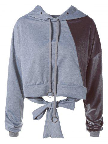 Best Color Block Long Sleeve Thin Wrap Hoodie - S GRAY Mobile