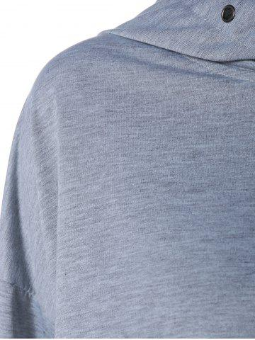 Sale Color Block Long Sleeve Thin Wrap Hoodie - S GRAY Mobile