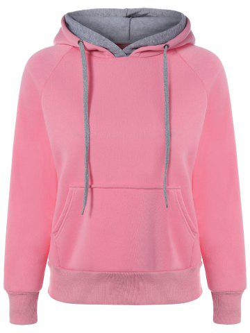 Cheap Preppy Two-Layer Hat Deign Hoodie PINK 2XL