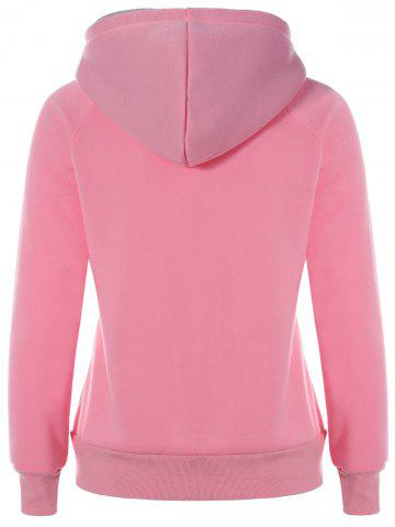Online Preppy Two-Layer Hat Deign Hoodie - XL PINK Mobile