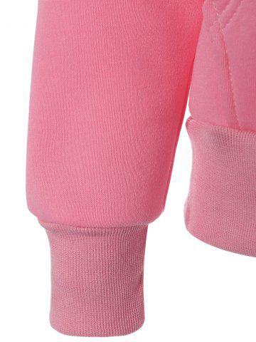 Best Preppy Two-Layer Hat Deign Hoodie - XL PINK Mobile
