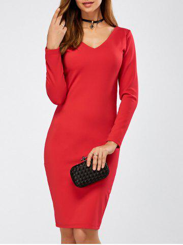 Chic Long Sleeve Tight Cocktail Dress