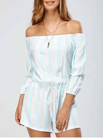 Shop Stripe Off The Shoulder Loose Romper