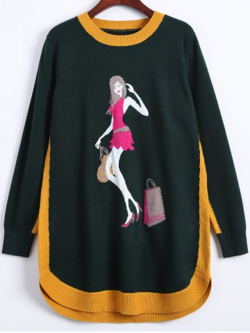 Outfit Girl Print High Low Ribbed Hem Sweater