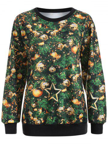 New Printed Christmas Pullover Sweatshirt GREEN XL